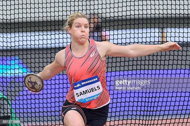 Dani Samuels of Australia competes in the Women's Discus during the 2016 IAAF Diamond League meeting at Shanghai Stadium on May 14 2016 in Shanghai...