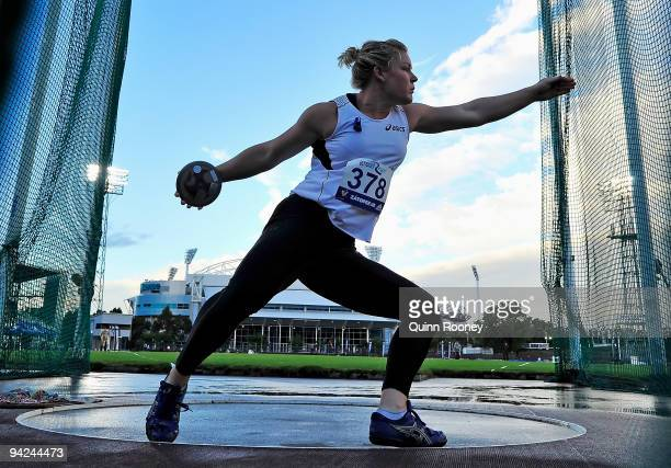 Dani Samuels of Australia competes in the Women's Discus during the Zatopek Classic at Olympic Park on December 10 2009 in Melbourne Australia