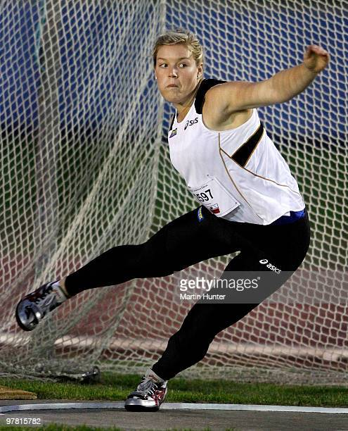 Dani Samuels of Australia competes in the Women's Discus during the International Track Meet at QE II Park on March 18 2010 in Christchurch New...