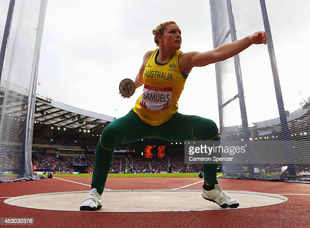 Dani Samuels of Australia competes in the Women's Discus final at Hampden Park during day nine of the Glasgow 2014 Commonwealth Games on August 1...