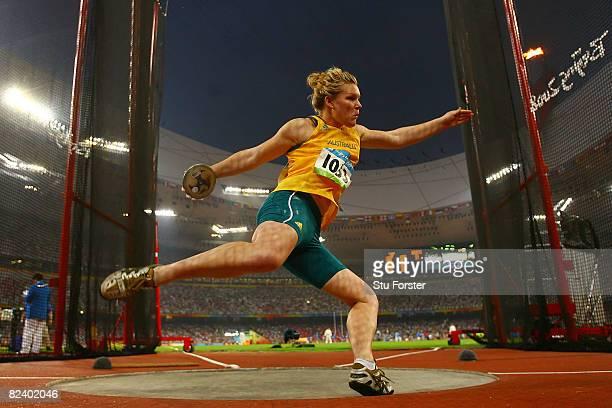 Dani Samuels of Australia competes in the Women's Discus Final at the National Stadium on Day 10 of the Beijing 2008 Olympic Games on August 18 2008...