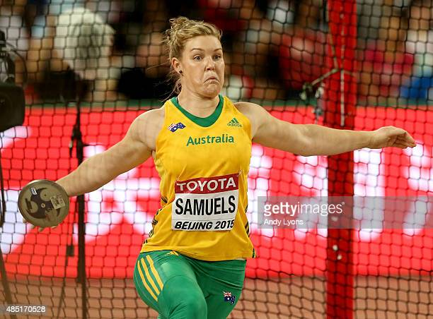 Dani Samuels of Australia competes in the Women's Discus final during day four of the 15th IAAF World Athletics Championships Beijing 2015 at Beijing...