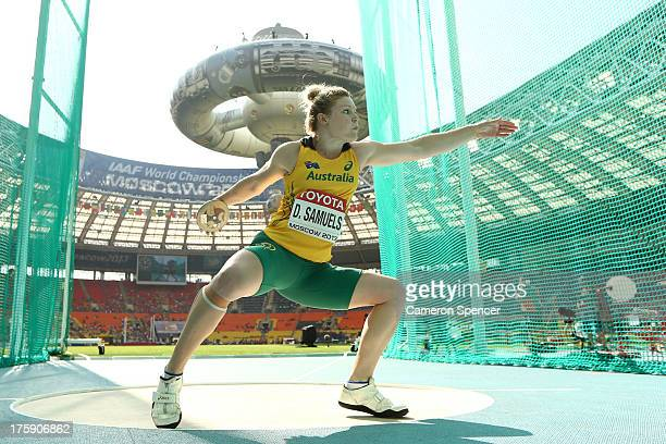 Dani Samuels of Australia competes in the Women's Discus qualification during Day One of the 14th IAAF World Athletics Championships Moscow 2013 at...