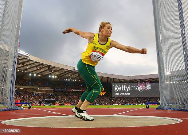 Dani Samuels of Australia competes in the Women's Discus qualification at Hampden Park during day eight of the Glasgow 2014 Commonwealth Games on...