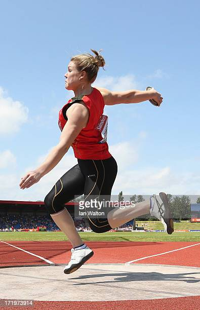 Dani Samuels of Australia competes in the Women's Discus Throw during the IAAF Diamond League at Alexander Stadium on June 30 2013 in Birmingham...