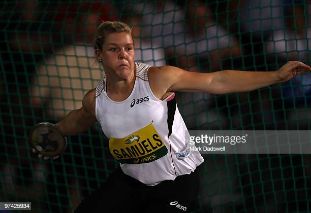 Dani Samuels of Australia competes in the Womens Discus Throw during the IAAF Melbourne Track Classic at Olympic Park on March 4 2010 in Melbourne...