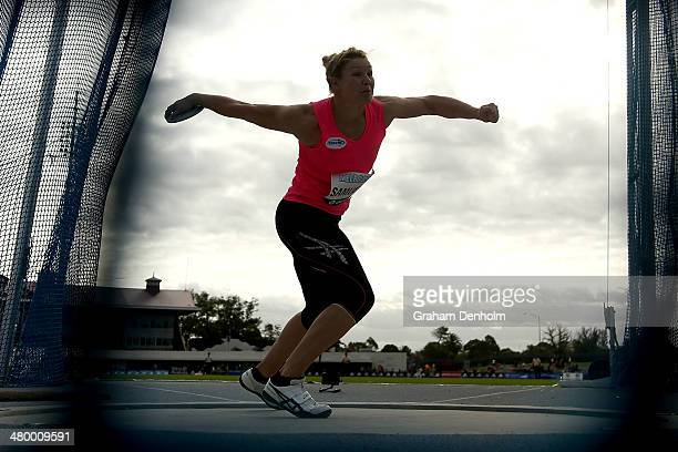 Dani Samuels of Australia competes in the Women's discus throw open during the IAAF Melbourne World Challenge at Olympic Park on March 22 2014 in...
