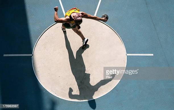 Dani Samuels of Australia competes in the women's discus throw qualifying round during Day One of the 14th IAAF World Athletics Championships Moscow...
