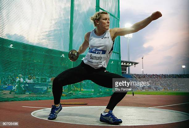 Dani Samuels of Australia in action in the Womens discus throw during day two of the IAAF World Athletics Final at the Kaftanzoglio stadium on...