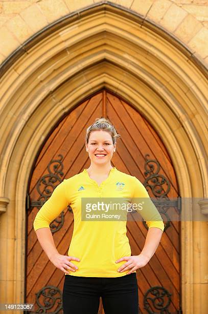 Dani Samuels of Australia poses during an Athletics Australia Olympic Media Day at Tonbridge Training Camp 2012 in Tonbridge England