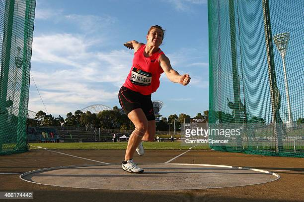 Dani Samuels of New South Wales competes in the womens discus final during the Sydney Track Classic at Sydney Olympic Park on March 14 2015 in Sydney...
