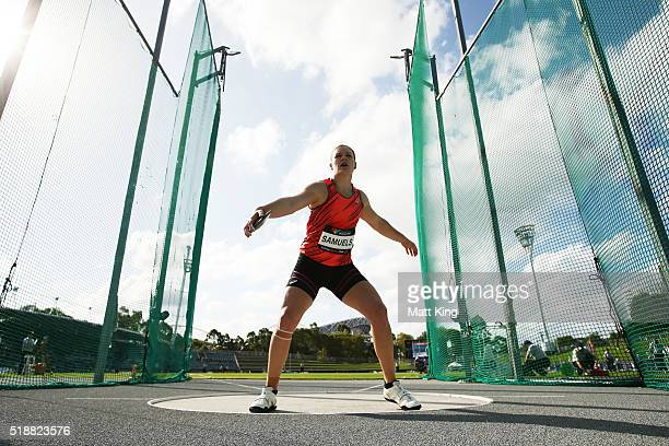 Dani Samuels of New South Wales competes in the Women's Discus final during the Australian Athletics Championships at Sydney Olympic Park on April 3...