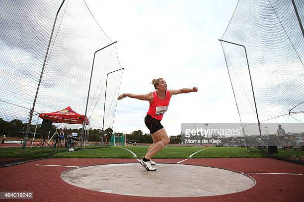Dani Samuels of NSW competes in the Women Discus Throw Open during the Adelaide Track Classic on February 21 2015 in Adelaide Australia