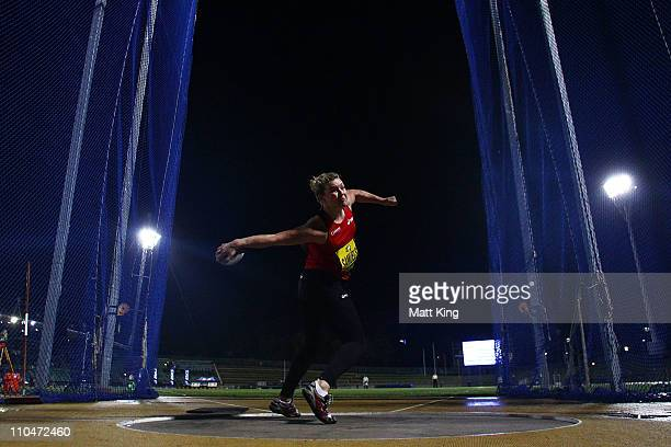Dani Samuels of NSWIS competes in the Women's Discus Throw during the Sydney Track Classic at the Sydney Olympic Park Athletic Centre on March 19...