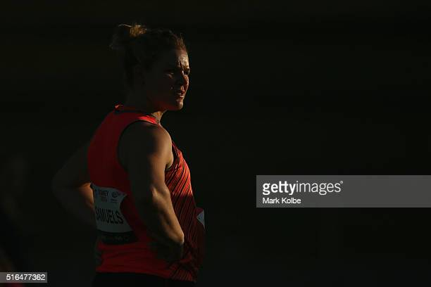 Dani Samuels of the NSW Institute of Sport watches on as she competes in the women's discus event during the 2016 Sydney Track Classic at Sydney...