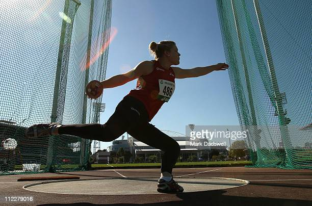 Dani Samuels of the NSWIS competes in the Womens Discus Throw Open during day three of the Australian Athletics National Campionships at Olympic Park...