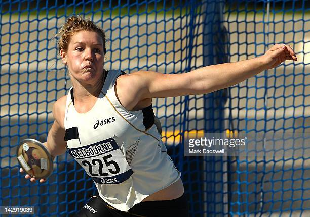 Dani Samuels of the NSWIS competes in the Womens Discus Throw open during day three of the Australian Athletics Championships at Lakeside Stadium on...