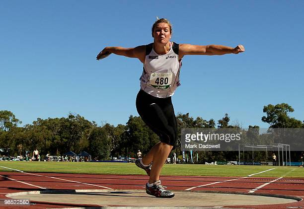 Dani Samuels of the NSWIS competes in the Womens Discus Throw Open during day three of the Australian Athletics Championships at Western Australia...