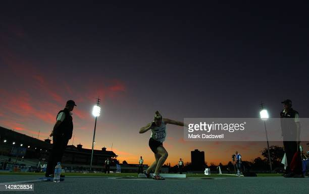 Dani Samuels of the NSWIS competes in the Womens Shot Put open during day one of the Australian Athletics Championships at Lakeside Stadium on April...