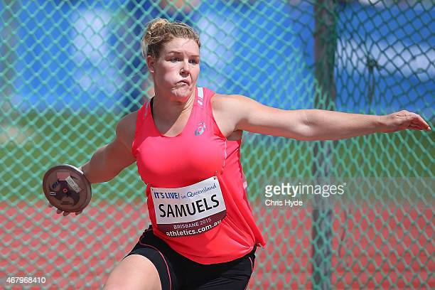 Dani Samuels throws in the Womens Discus final during the Australian Athletics Championships at the Queensland Sports and Athletics Centre on March...