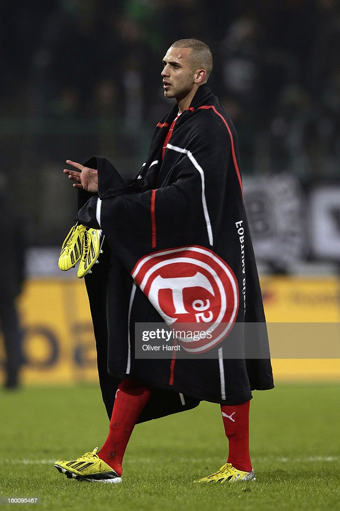 Dani Schahin of Duesseldorf reacts after the Bundesliga match between VfL Borussia Moenchengladbach v Fortuna Duesseldorf at Borussia Park Stadium on January 26, 2013 in Moenchengladbach, Germany.