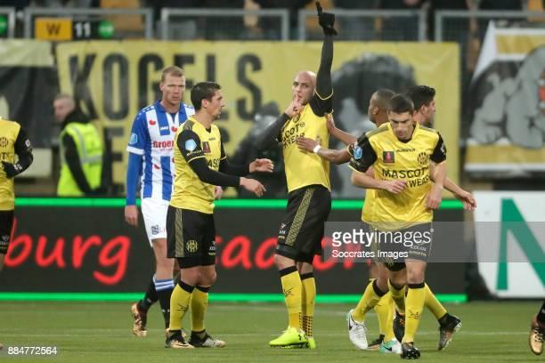 Dani Schahin of Roda JC celebrates 11 with Christian Kum of Roda JC Mikhail Rosheuvel of Roda JC during the Dutch Eredivisie match between Roda JC v...