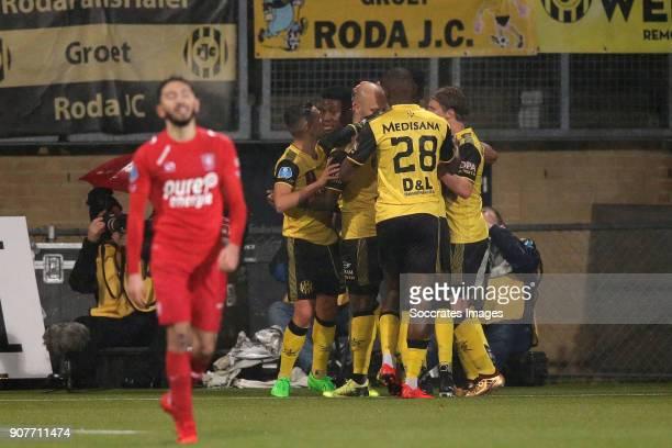 Dani Schahin of Roda JC celebrates 1-1 with Simon Gustafson of Roda JC, Donis Avdijaj of Roda JC, Frederic Ananou of Roda JC, Maecky Fred Ngombo of...