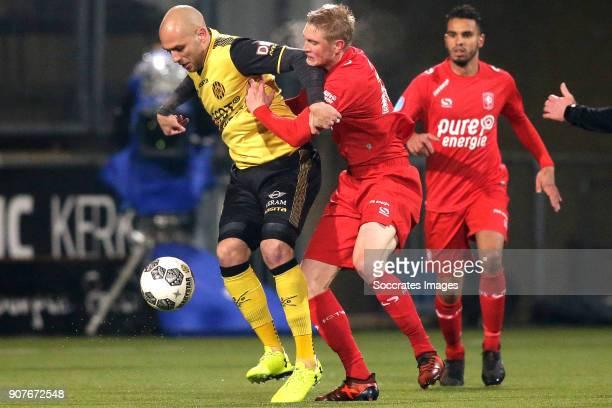 Dani Schahin of Roda JC, Fredrik Jensen of FC Twente during the Dutch Eredivisie match between Roda JC v Fc Twente at the Parkstad Limburg Stadium on...
