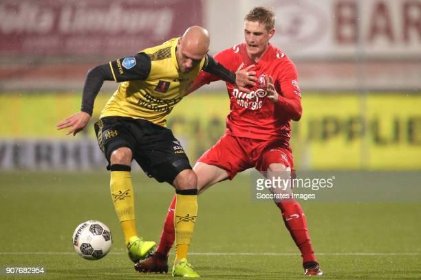 Dani Schahin of Roda JC, Richard Jensen of FC Twente during the Dutch Eredivisie match between Roda JC v Fc Twente at the Parkstad Limburg Stadium on...
