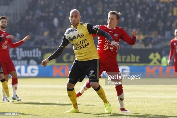 Dani Schahin of Roda JC, Rico Strieder of FC Utrecht during the Dutch Eredivisie match between Roda JC Kerkrade and FC Utrecht at the Parkstad...