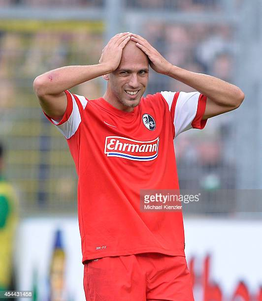 Dani Shahin of Freiburg reacts during the Bundesliga match between SC Freiburg and Borussia Moenchengladbach at Mage Solar Stadium on August 31, 2014...