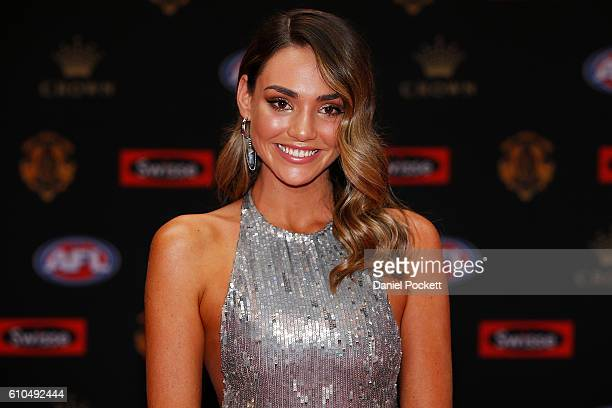 Dani Shreeve partner of Jack Gunston of Hawthorn arrives ahead of the 2016 Brownlow Medal at Crown Entertainment Complex on September 26 2016 in...