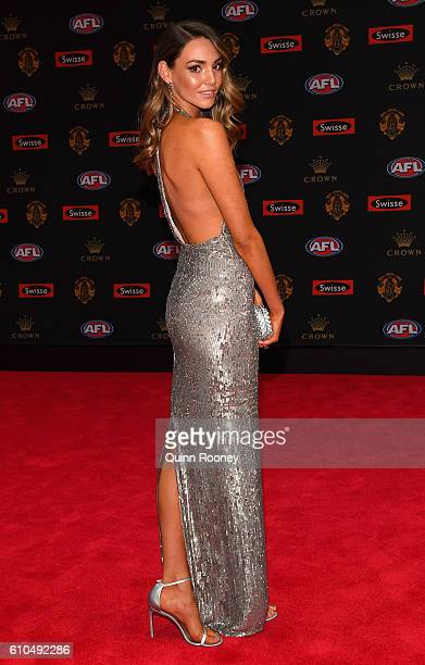 Dani Shreeve the partner of Jack Gunston of the Hawks arrives ahead of the 2016 Brownlow Medal at Crown Entertainment Complex on September 26 2016 in...