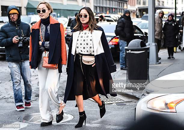 Dani Song and Aimee Song are seen outside the DVF show during New York Fashion Week: Women's Fall/Winter 2016 on February 14, 2016 in New York City.