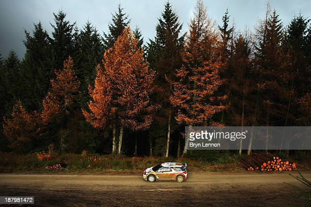 Dani Sordo and Carlos Del Barrio of Spain drive the Citroen DS3 WRC on the qualifying stage for the FIA World Rally Championship Great Britain on...