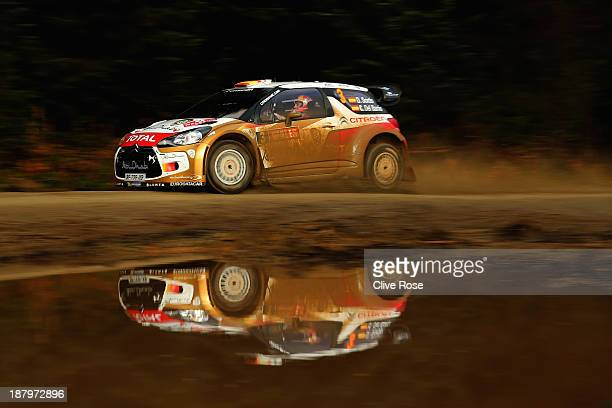 Dani Sordo and Carlos Del Barrio of Spain drive the CitroenDS3 WRC during the Llandegla qualifying stage on November 14 2013 in Llandegla Wales
