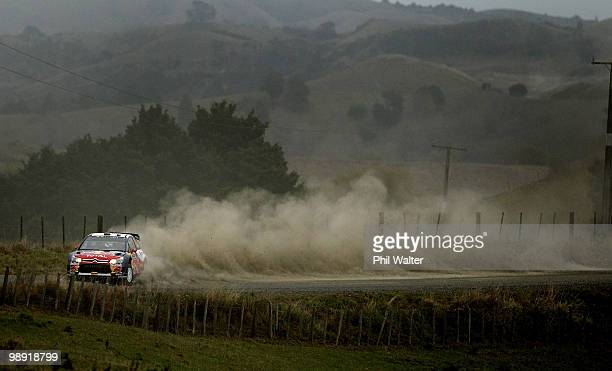 Dani Sordo and codriver Marc Marti of Spain drive their Citroen C4 WRC during stage 10 of the WRC Rally of New Zealand at Glen Murray on May 8 2010...