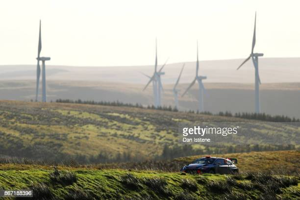 Dani Sordo of Spain and Hyundai Motorsport drives with codriver Marc Marti of Spain during day one of the FIA World Rally Championship Great Britain...
