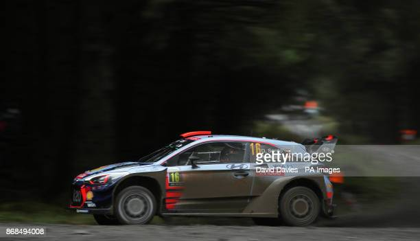 Dani Sordo of Spain and Hyundai Motorsport drives with codriver Marc Marti of Spain during day four of the Dayinsure Wales Rally GB PRESS ASSOCIATION...