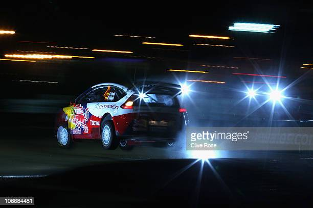 Dani Sordo of Spain drives the Citroen junior team C4 during the Shakedown for the Wales Rally GB on November 10 2010 in Cardiff Wales