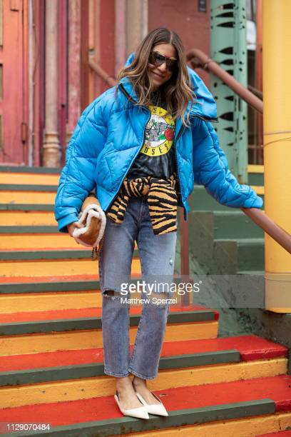 Dani Stahl is seen on the street during New York Fashion Week AW19 wearing Alice Olivia on February 11 2019 in New York City