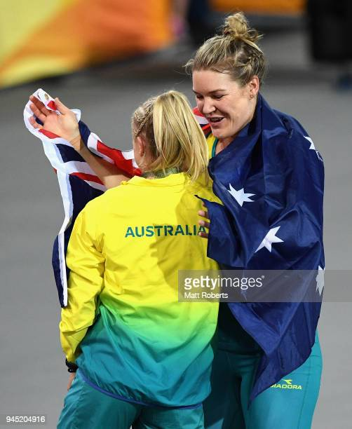 Dani Stevens of Australia celebrates winning gold in the Women's Discus final during athletics on day eight of the Gold Coast 2018 Commonwealth Games...