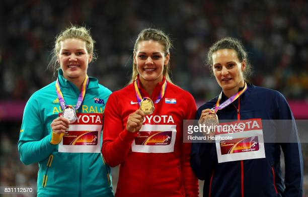 Dani Stevens of Australia silver Sandra Perkovic of Croatia gold Melina RobertMichon of France pose on the podium with their medals for the Women's...