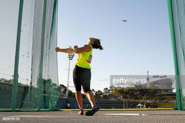 Dani Stevens of NSW competes in the Women's Discus during the 2018 Sydney Athletics Grand Prix at Sydney olympic Park Athletics Centre on March 17...