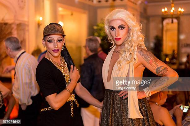"""Dani T and Maebe A Girl pose for a picture at the 2016 Outfest Los Angeles Closing Night Gala Of """"Other People"""" After Party at The Theatre at Ace..."""