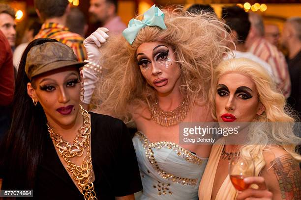 """Dani T, Trash and Maebe A Girl pose for a picture at the 2016 Outfest Los Angeles Closing Night Gala Of """"Other People"""" After Party at The Theatre at..."""