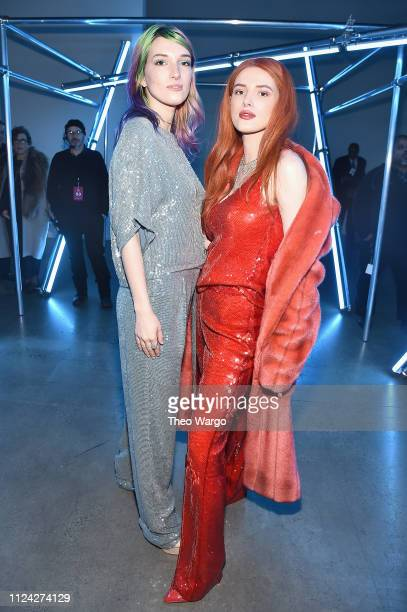 Dani Thorne and Bella Thorne attend the Sally LaPointe front row during New York Fashion Week The Shows at Gallery I at Spring Studios on February 12...