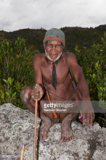 dani tribesman wearing a penis guard - astuccio penico foto e immagini stock