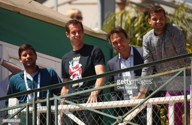 Dani VallverduAndy Murray of Great BritainRoss Hutchins and Grigor Dimitrov of Bulgaria watch Kyle Edmund of Great Britain as he plays against Dan...