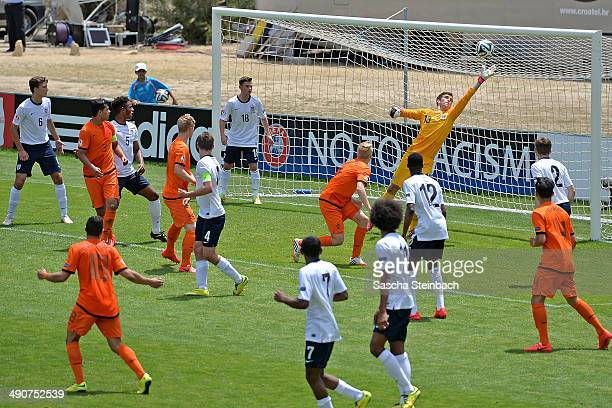 Dani van der Moot of Netherlands scores his team's second goal from a header during the UEFA Under17 European Championship 2014 group A match between...